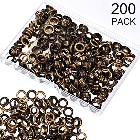 6.35 mm, Silver 200 Pieces Metal Grommets Eyelets Self Backing with Flat Washer for Bead Clothes Leather Canvas Cores DIY Craft