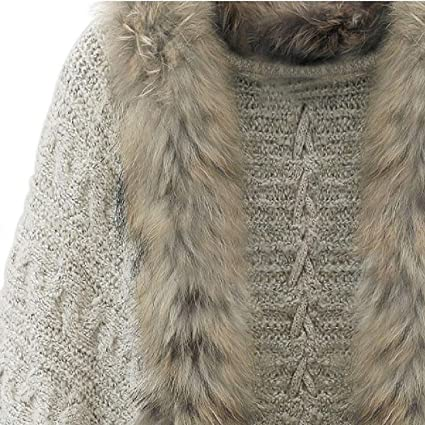 Knitted Shawl Cardigan Hoodies Jumper Knitwear Ladies Fur Collar Coats!7, Khaki at Amazon Womens Clothing store: