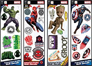 Marvel Groot Captain America Spider-Man Hulk Augmented Reality Small Wall Decal Bundle Peel & Stick Removable Vinyl Stickers