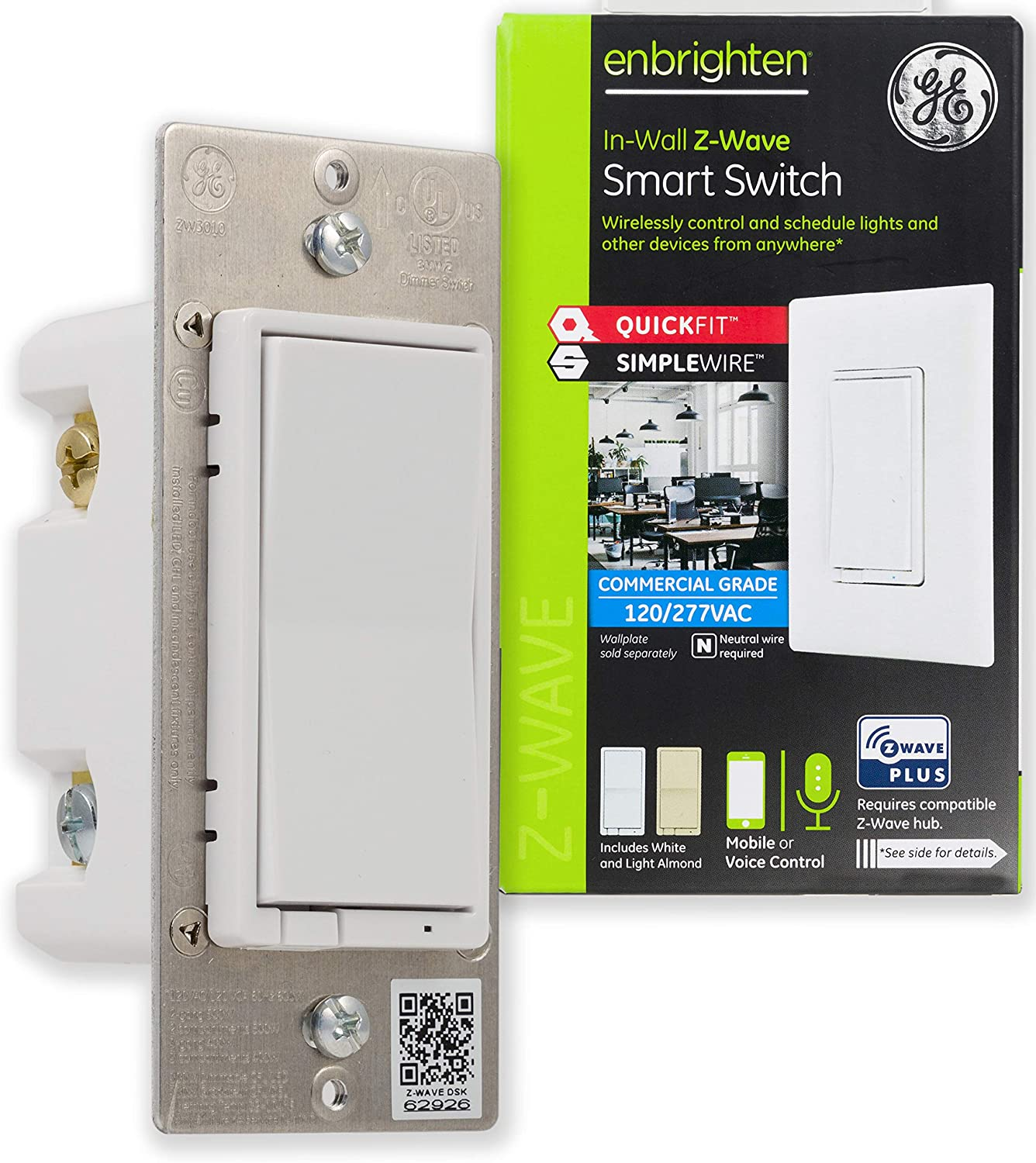 GE Enbrighten Plus Smart Switch with QuickFit and SimpleWire, in-Wall Commercial Grade 120/277 VAC, Z-Wave Hub Required, Works with Ring, SmartThings, Alexa, 43072, White & Light Almond
