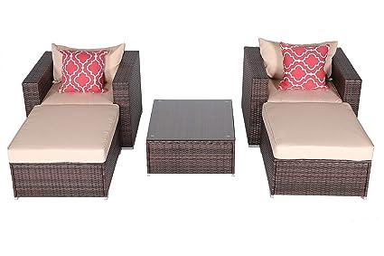 Do4U Patio Sofa 5-Piece Set Outdoor Furniture Sectional All-Weather Wicker Rattan Sofa Beige Seat & Back Cushions, Garden Lawn Pool Backyard Outdoor ...