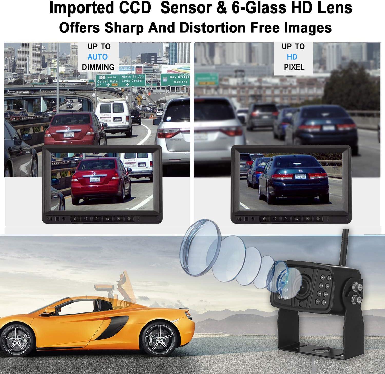 FHD 1080P Digital Wireless Dual Backup Camera 7 DVR Monitor Kit Split Screen for Trailer//RV//Truck//Camper Rear//Side//Front View Camera Night Vision IP69K Waterproof Driving//Reversing Use