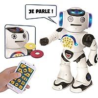 LEXIBOOK Powerman - Robot éducatif interactif pour Jouer Et Apprendre, Danse, Joue De La Musique, Quiz Éducatifs, Lance des Disques, Blanc/Noir - ROB50FR