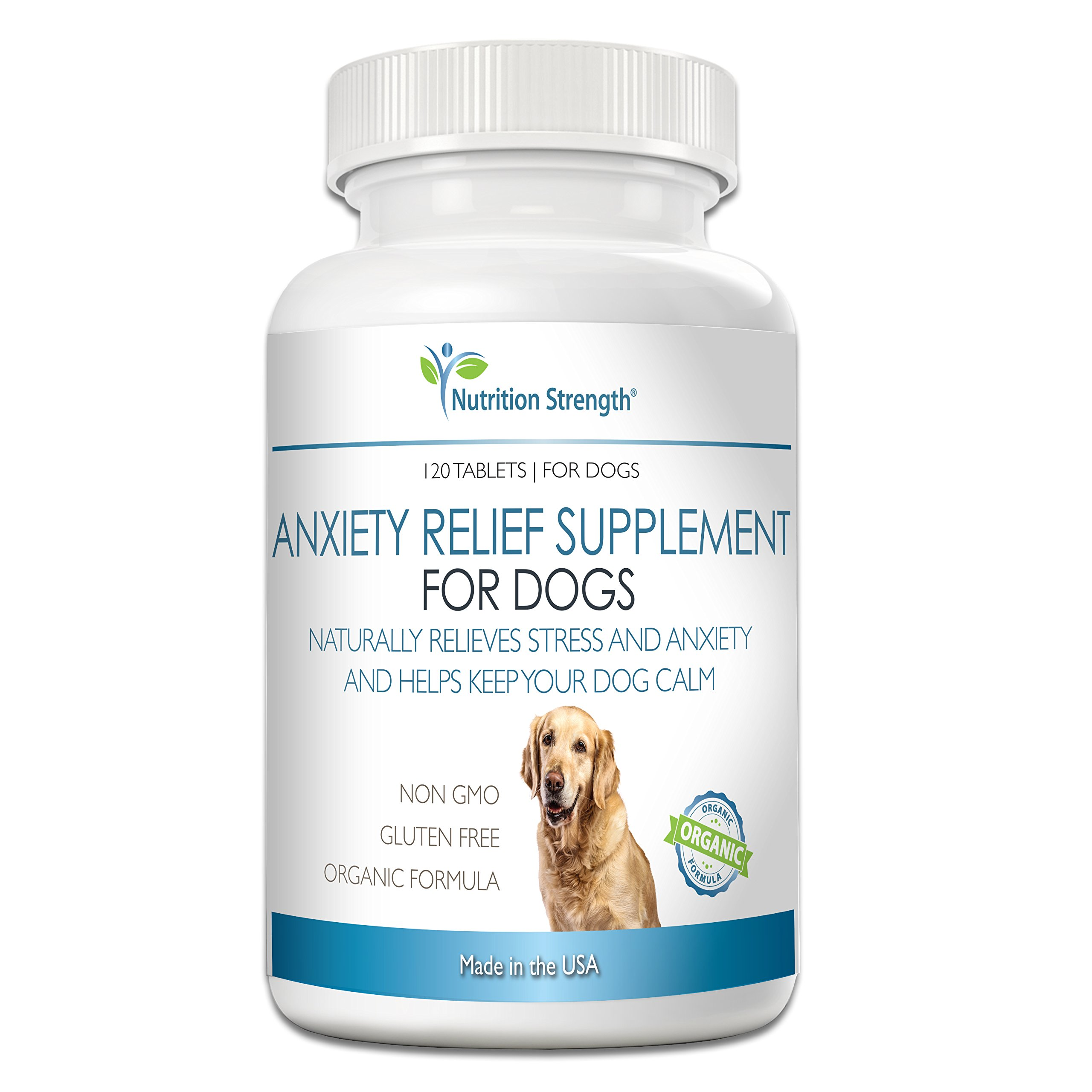 Nutrition Strength Dog Anxiety Relief Supplement, Organic Formula for Stressed Dog Support, Calming Treats for Dogs, 120 Chewable Tablets