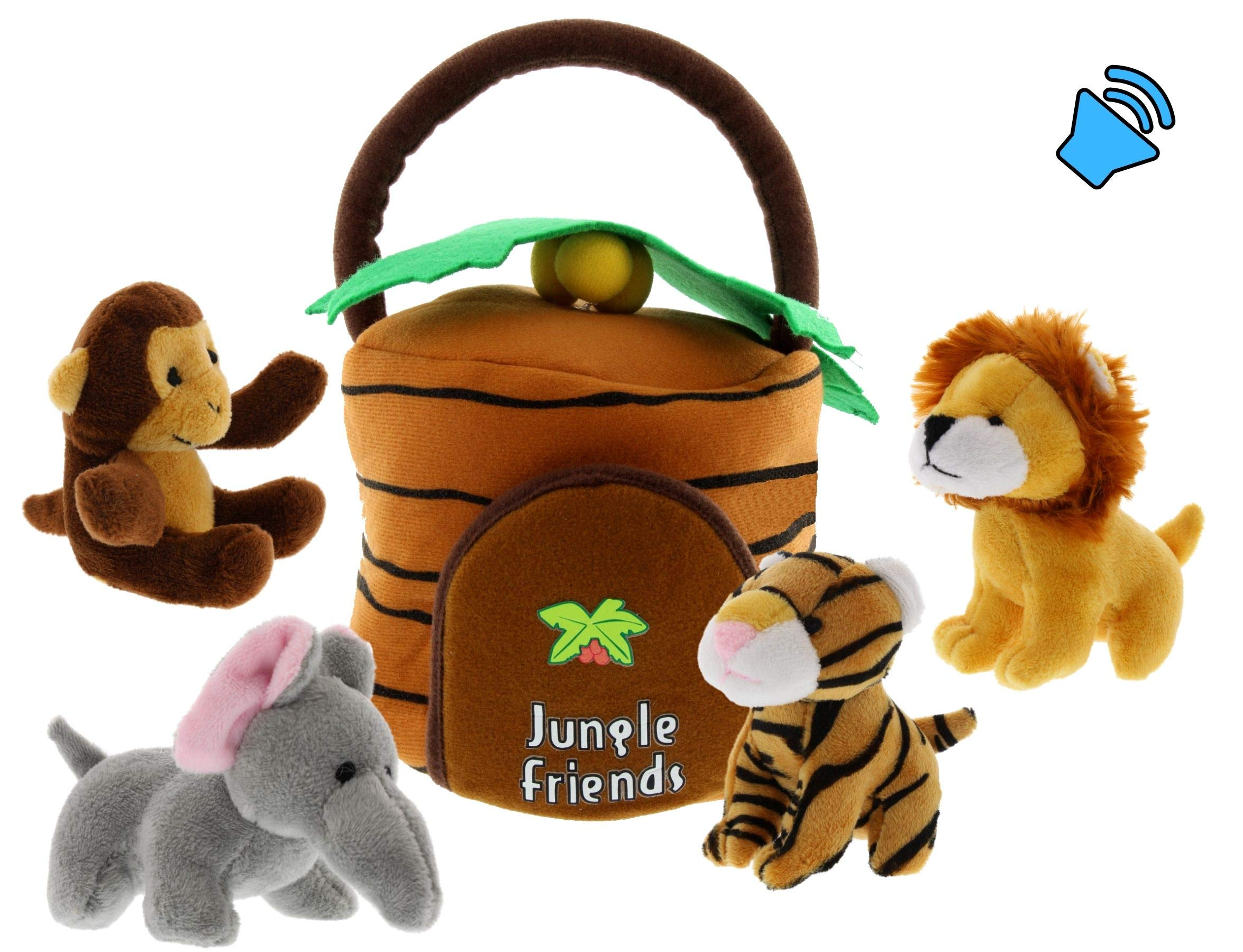 Talking Interactive Plush Jungle Animals Toy Set with Jungle House Carrier for Kids- 5pc- Stuffed Monkey, Lion, Tiger & Elephant- Great for Boys & Girls, Learning Baby toys by Etna by Etna