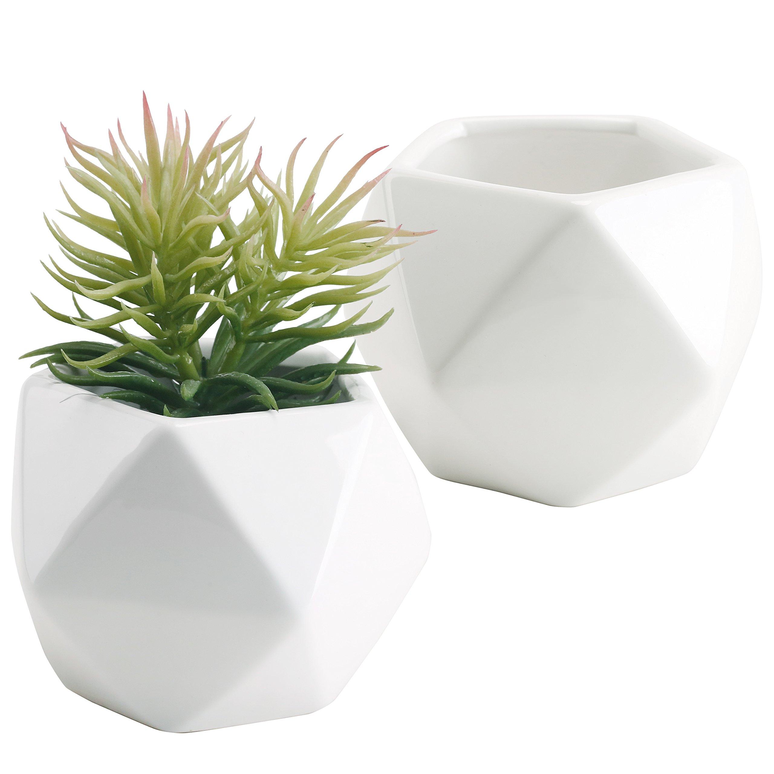 Set of 2 White Ceramic Geometric Design Mini Succulent Planter Pots, 5 Inches