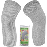 Senior ICare Knee Warmers and Cotton Knee Sleeves - Circulation Improvement, Joint Pain Relief, Women, Binchotan Charcoal Knitted Cotton, One Pair, Made in Japan