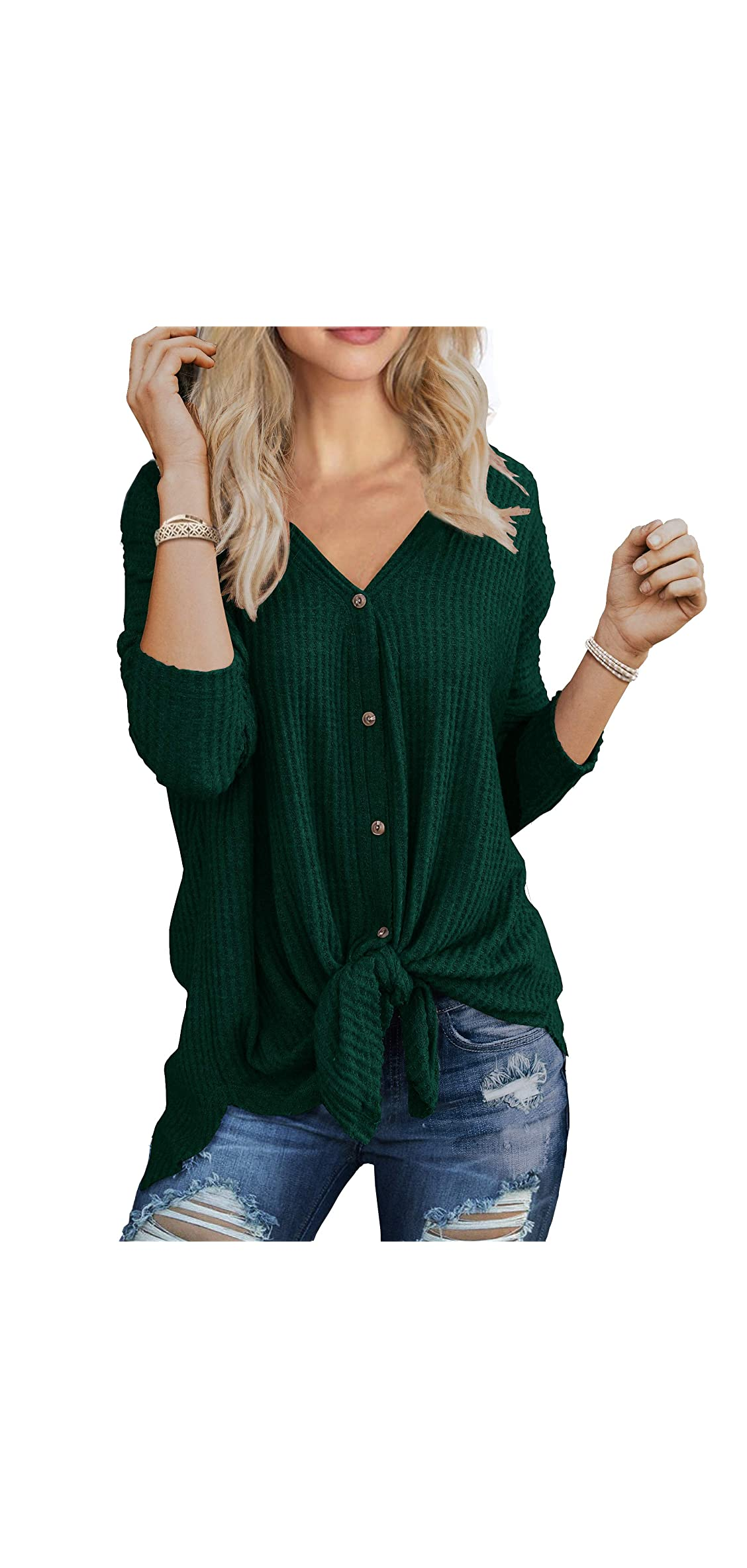 Womens Waffle Knit Tunic Blouse Tie Knot Henley Tops