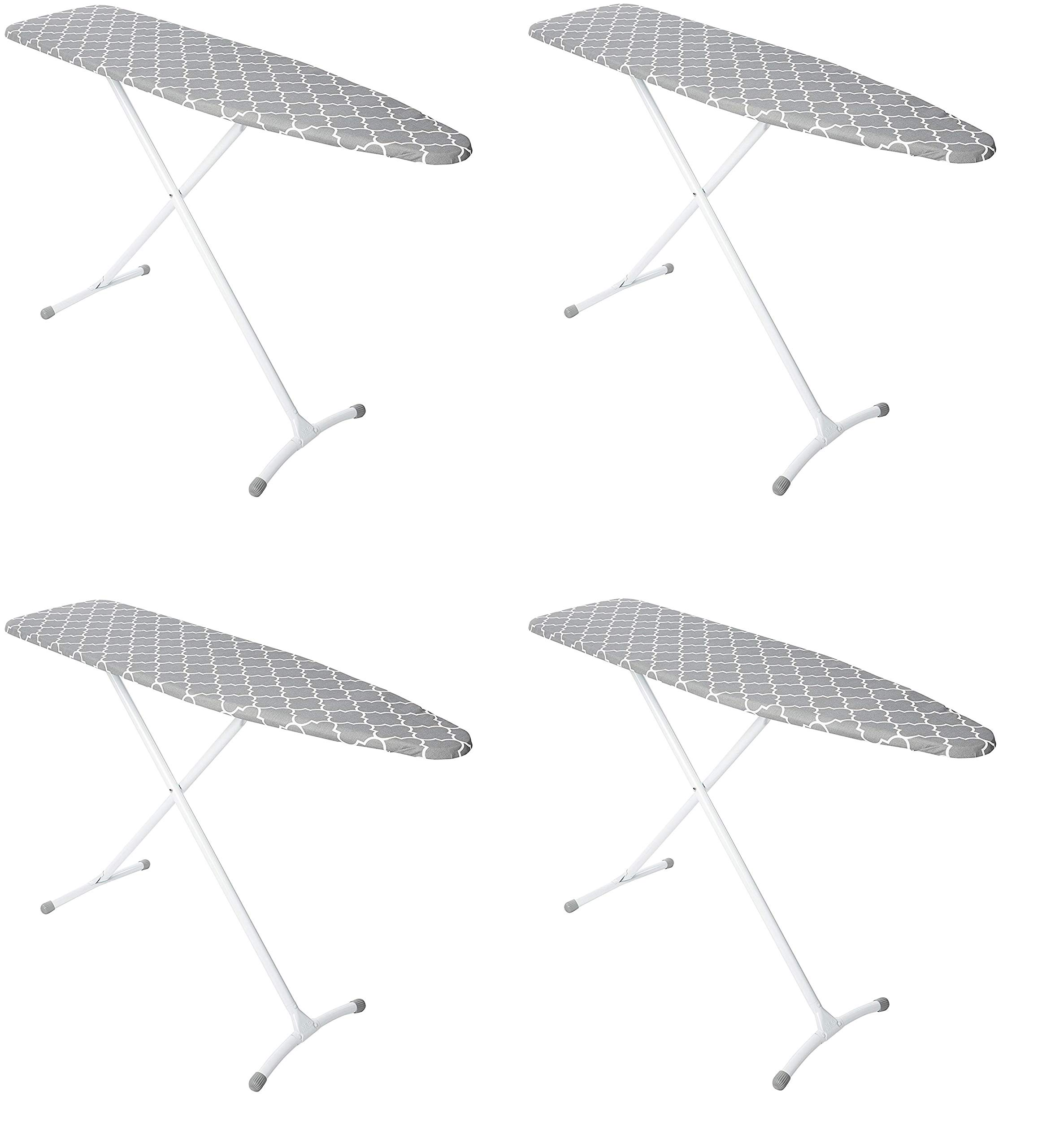 Homz Contour Steel Top Ironing Board, Grey & White Filigree Cover (Pack of 4)