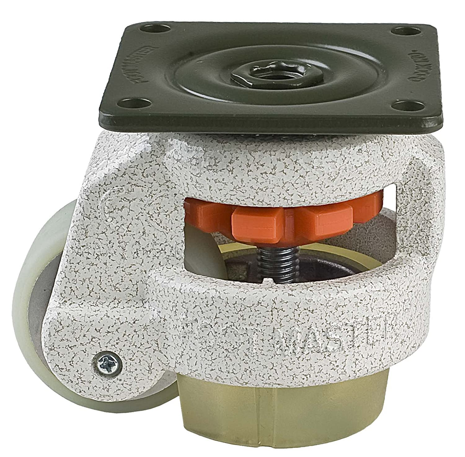 FOOTMASTER GD-60F-U Urethane Wheel and Pad Leveling Caster, 550 lbs, Top Plate 2 7/8 x 2 7/8, Bolt Holes 2 9/32 x 2 9/32, Ivory Finish by FOOTMASTER B00I2JG38Y