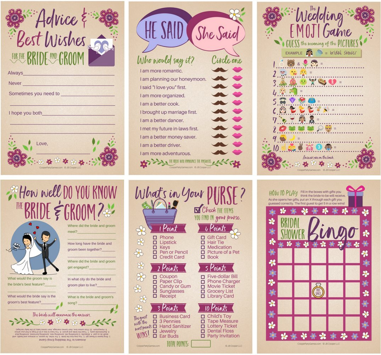 6 Bridal Shower Games for 25 Guests | Marriage Advice | Wedding Emoji Game | He Said She Said Game | Bridal Bingo by JB Cooper
