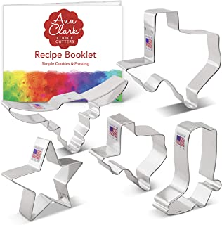 "product image for Ann Clark Cookie Cutters 5-Piece Texas Cookie Cutter Set with Recipe Booklet, Texas 3"" & 4.4"", Long Horn, Star, Cowboy Boot"