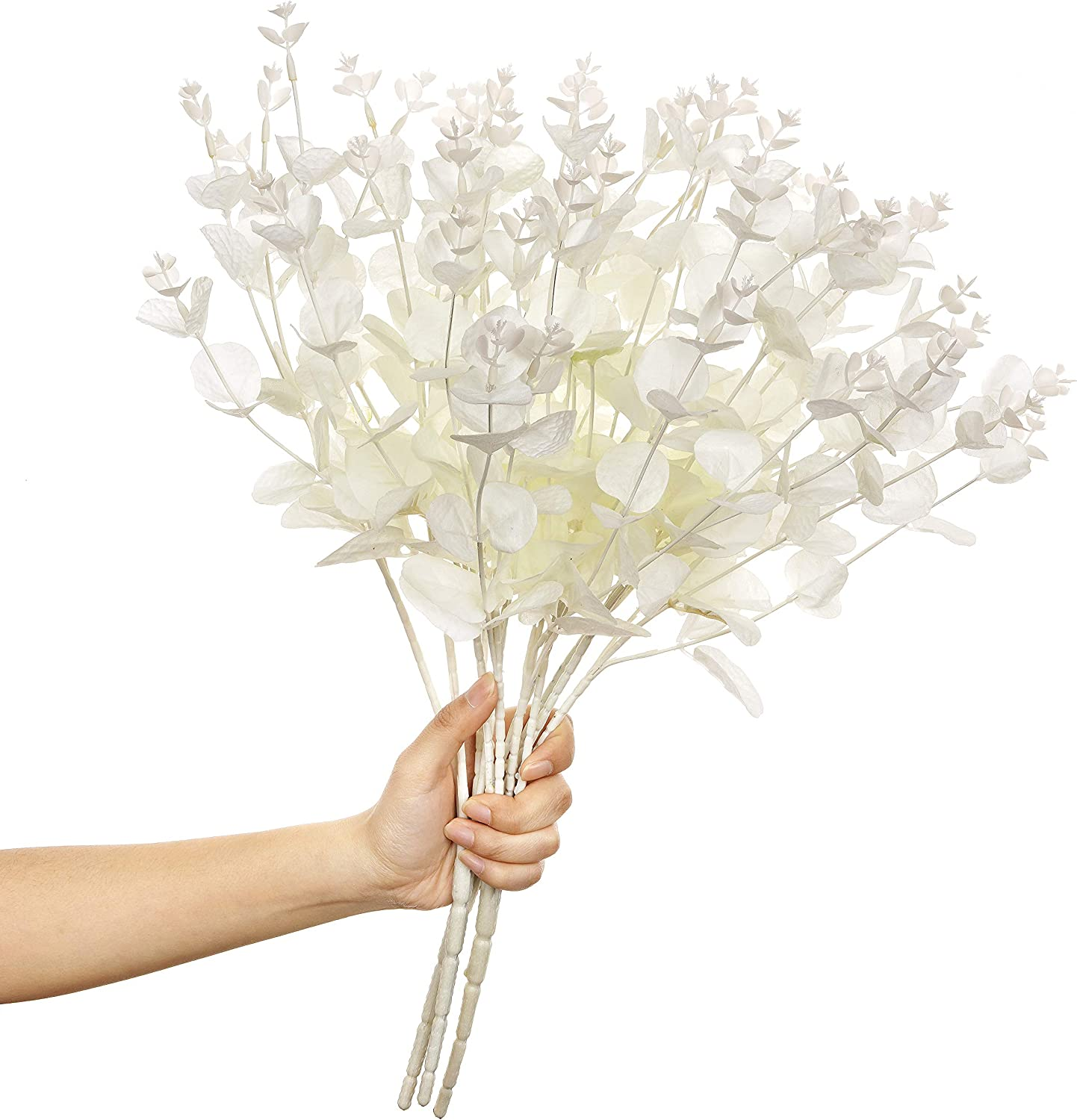 Paras 3pcs Artificial Eucalyptus Leaves, Faux Silk Eucalyptus Stems Bouquet Fake Greenery Plants with Total 16 Stems Arrangement for Home Party Wedding and Christmas(White)