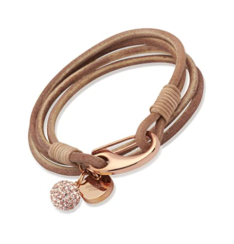 Unique & Co Ladies 19cm Natural Leather Bracelet with Rose Gold Plated Steel Shrimp Clasp and Crystal Ball qPCxDY6qVJ
