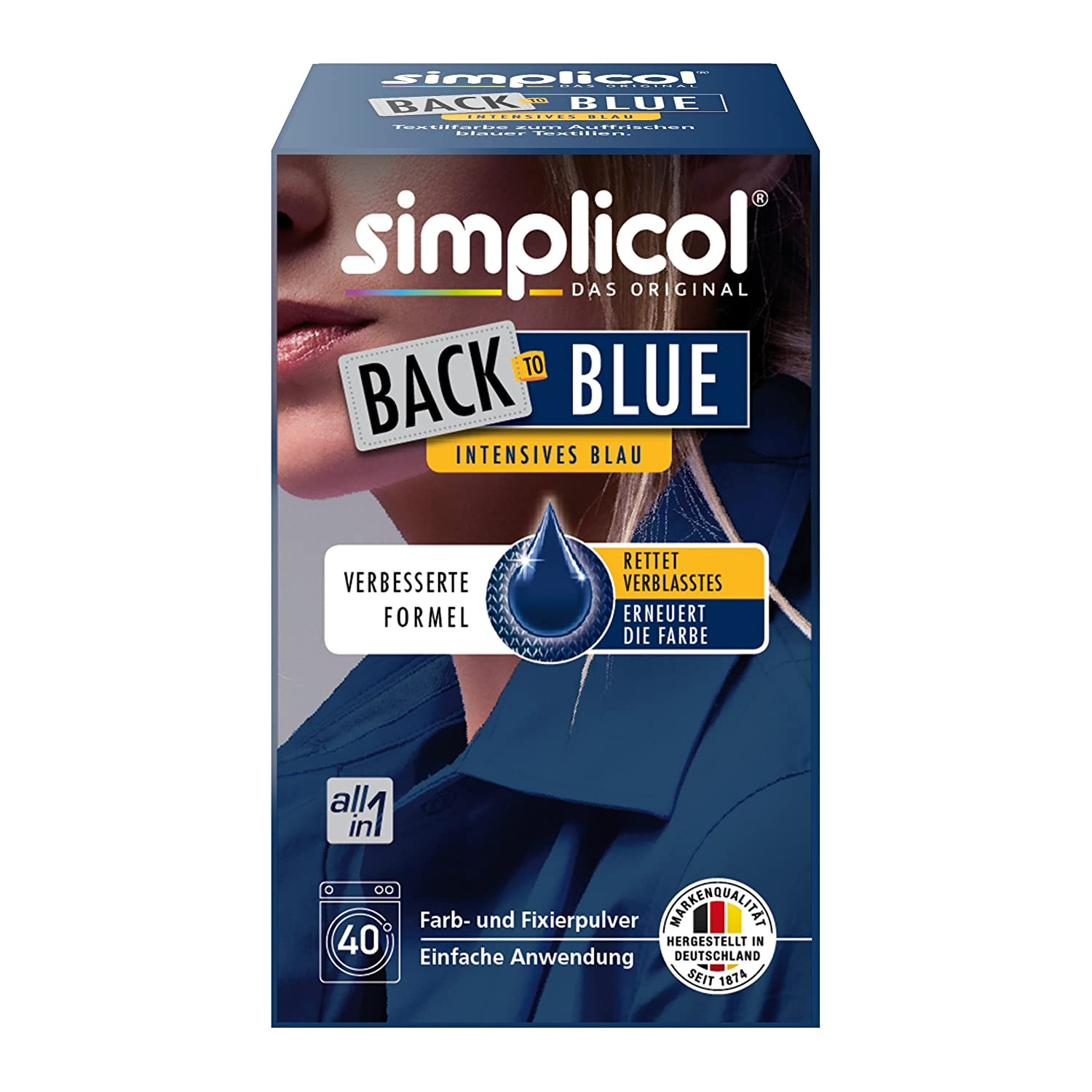 Simplicol Fabric Colour Back-to-Back Renewal – Blue Blue: Restores colour & Renewal Machine – All in 1 – Complete DIY Dye Spice Mix with Textile Paint for 2018ER Version Brauns-Heitmann 2513