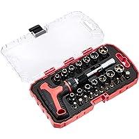 AmazonBasics Juego de destornillador y llave de carraca en T, magnético, 27 piezas