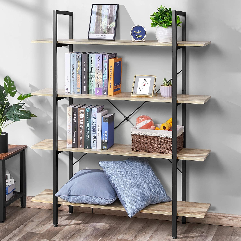 Bookshelf Vintage Industrial 4 Tier Bookcase Solid Wood and Metal Frame Sturdy Bookshelves, Open Wide Book Shelf Storage for Home Office, Living Room Furniture, Oak Grain