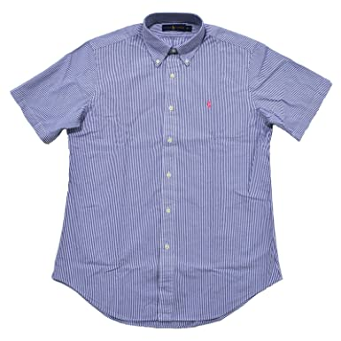 3c825f23 Image Unavailable. Image not available for. Color: Polo Ralph Lauren Mens  Seersucker Short Sleeve Shirt (S, Basic Blue Stripes)