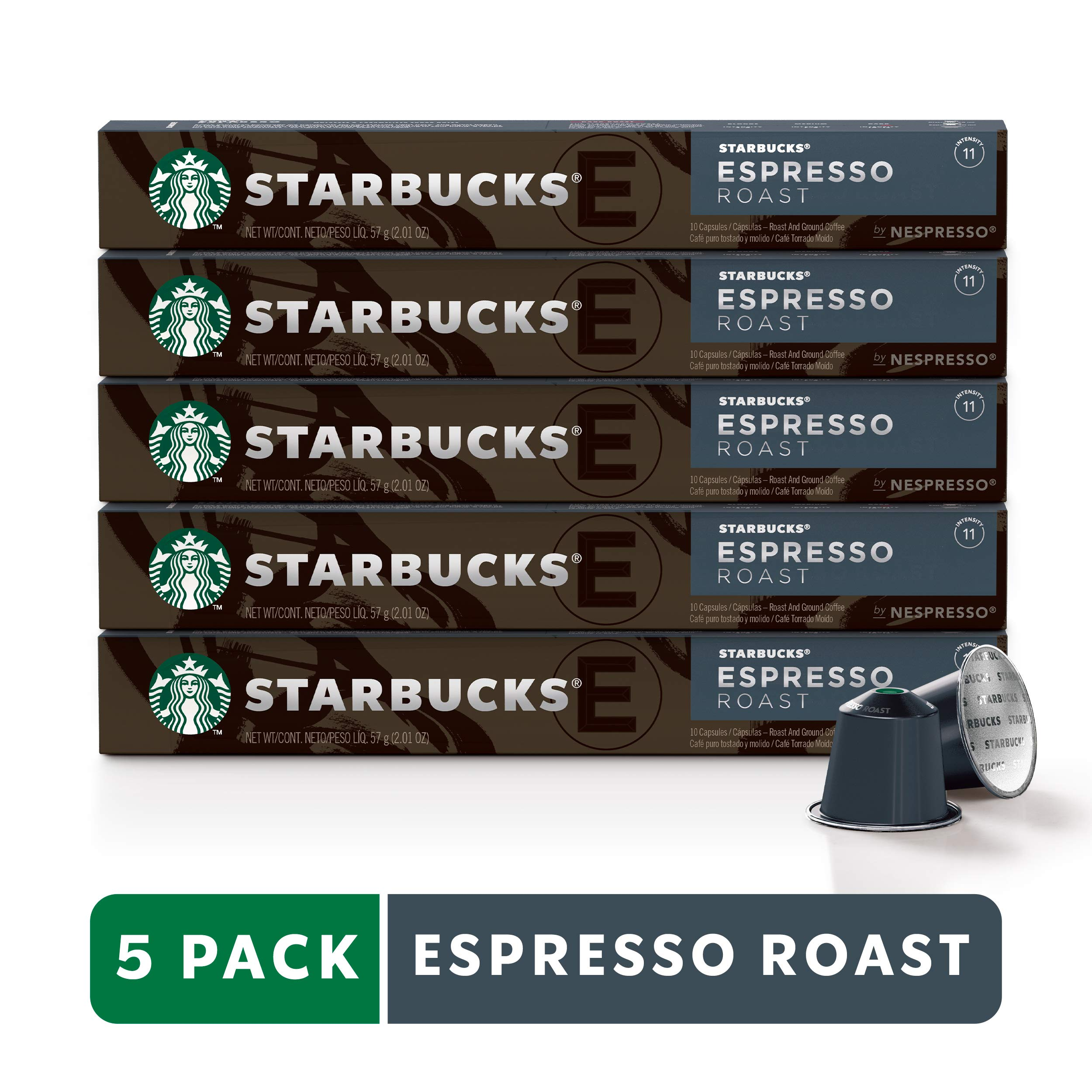 Starbucks by Nespresso, Espresso Dark Roast (50-count single serve capsules, compatible with Nespresso Original Line System) by Starbucks for Nespresso (Image #1)