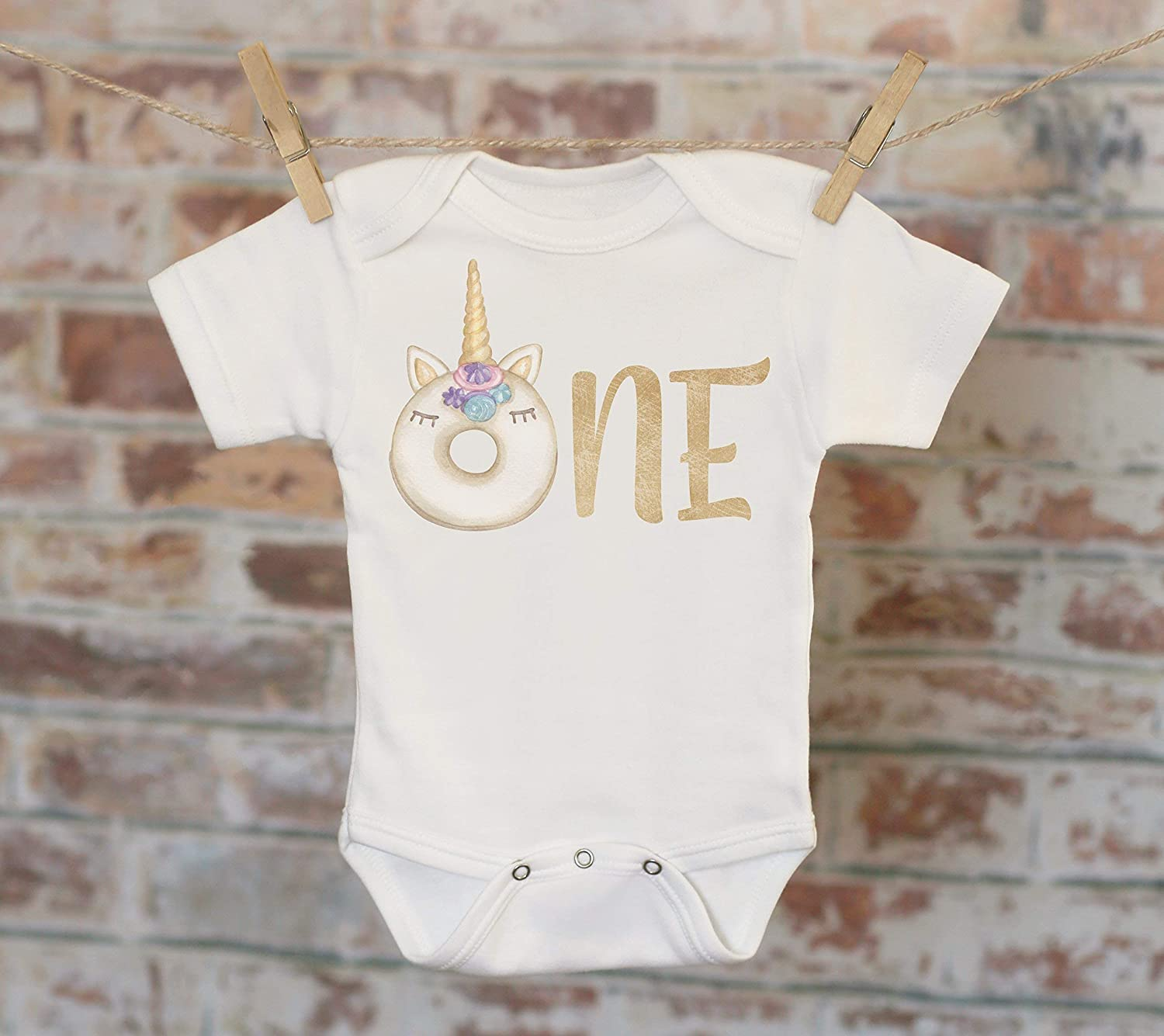 One Donut Unicorn Onesie®, First Birthday Onesie, Customized Onesie, Cute Onesie, Boho Baby Onesie, Woodland Style Onesie One Donut Unicorn Onesie®