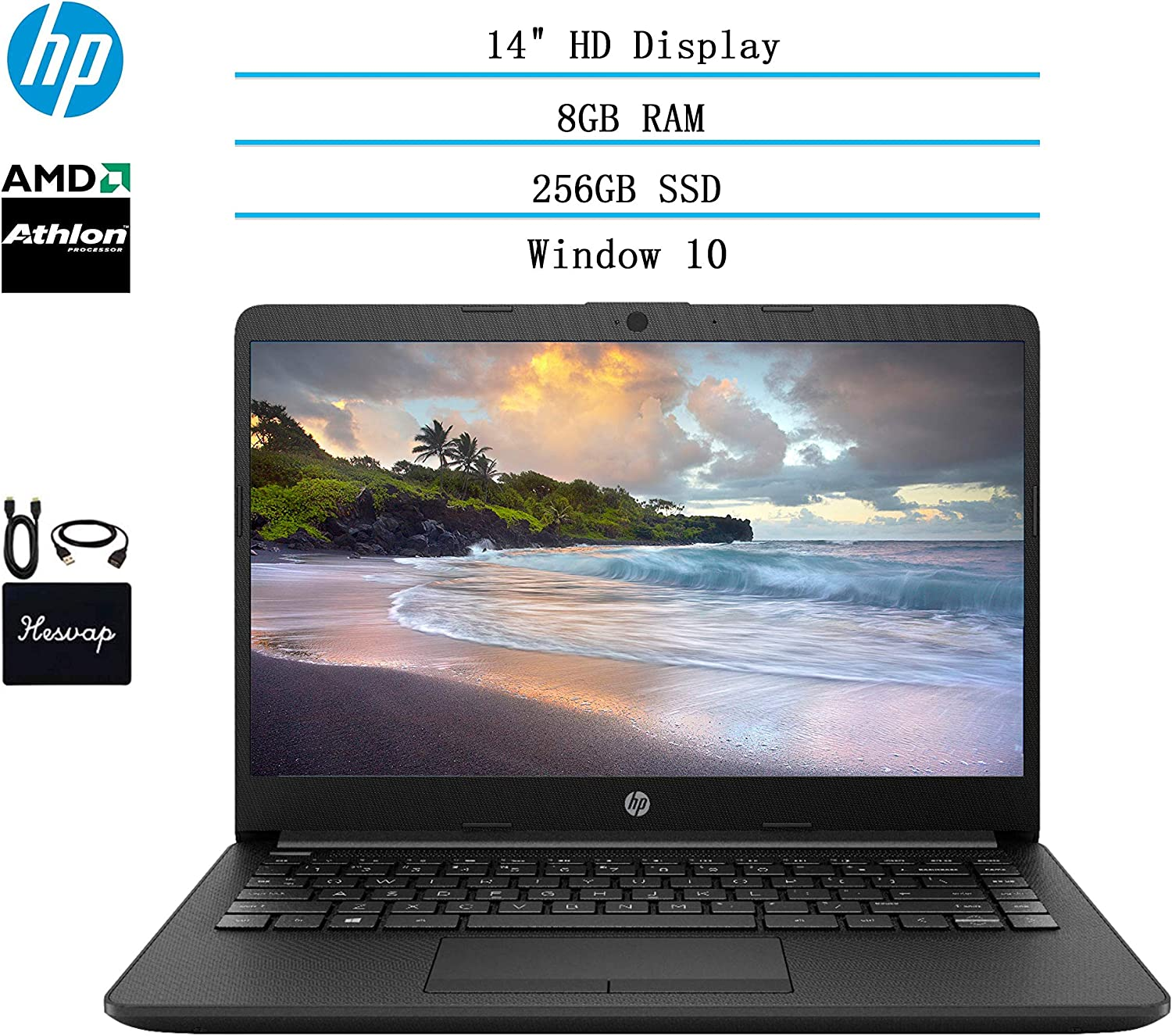 2020 HP 14 inch HD Laptop Newest for Business and Student, AMD Athlon Silver 3050U (Beat i5-7200U), 8GB DDR4 RAM, 256GB SSD, 802.11ac, WiFi, Bluetooth, HDMI, Windows 10 w/HESVAP 3in1 Accessories