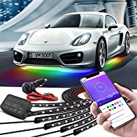 Car Underglow Lights, Bluetooth Dream Color Chasing Strip Lights Kit, 6 PCS Waterproof Exterior Car Lights with APP…