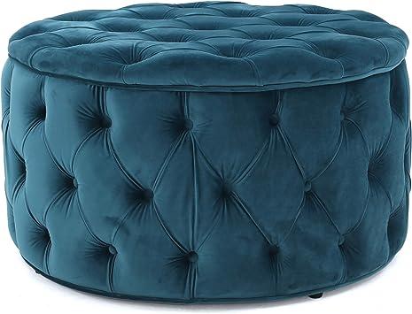 Amazon Com Maelyn Teal Velvet Ottoman Furniture Decor