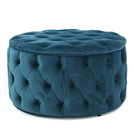 Strange Great Deal Furniture Provence Teal Tufted New Velvet Ottoman Round Caraccident5 Cool Chair Designs And Ideas Caraccident5Info