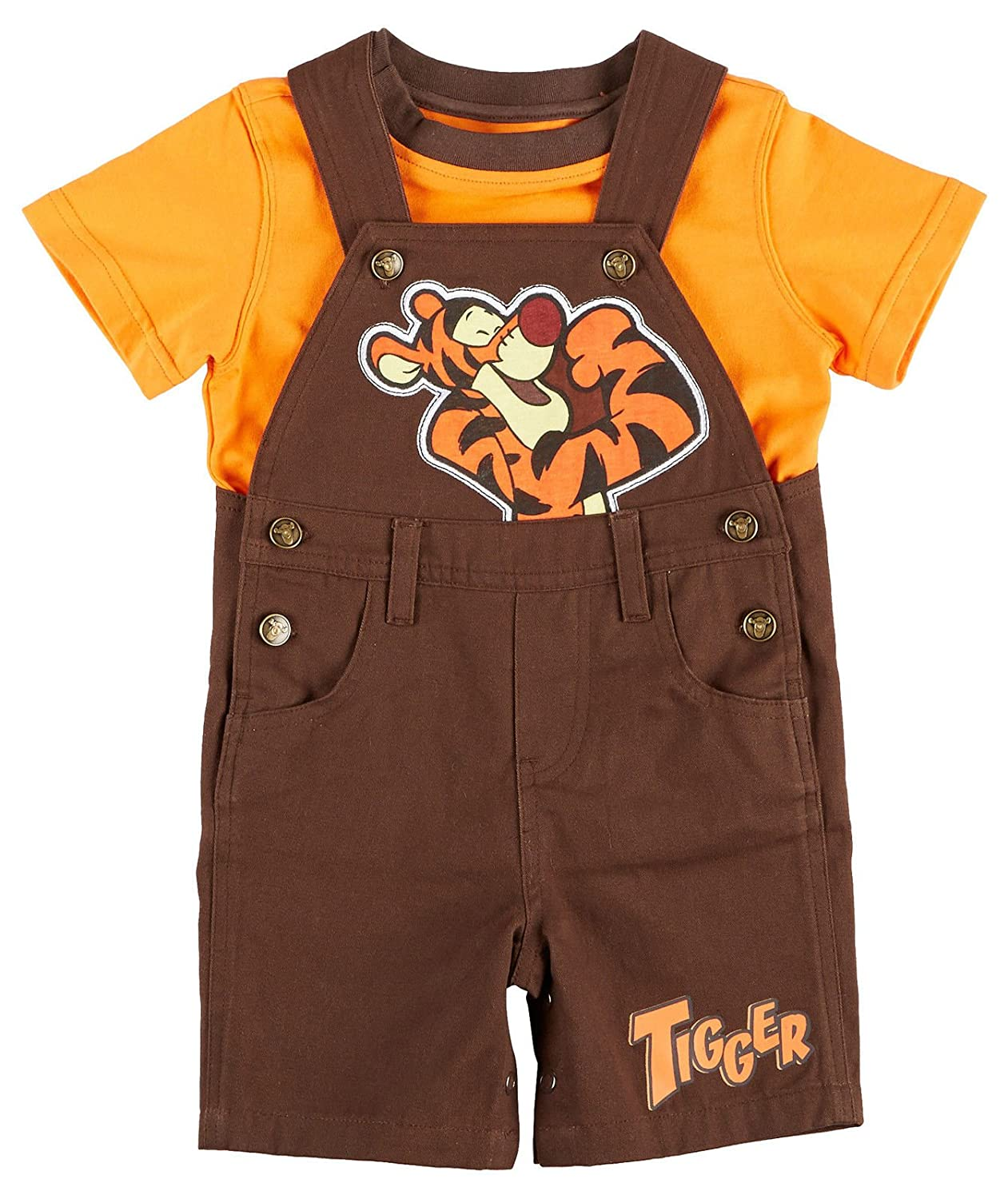 Winnie the Pooh Disney Official and Tigger Boys Infant Shortall Set Sizes 12-24 Months