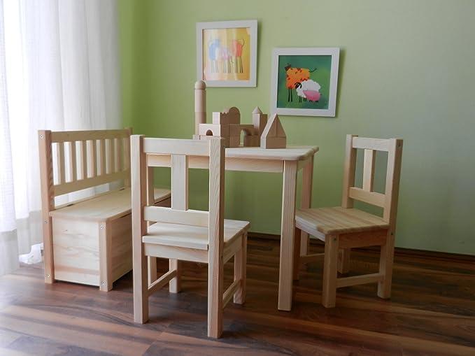 Best of JAM Ensemble 1 table et 2 chaises et 1 banc pour enfants en bois massif brut