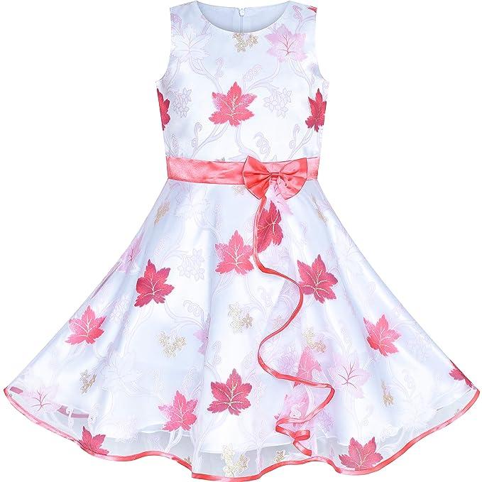 7b610e860 Sunny Fashion Vestido para niña Hoja de Arce Tul Boda Fiesta 11-12 años