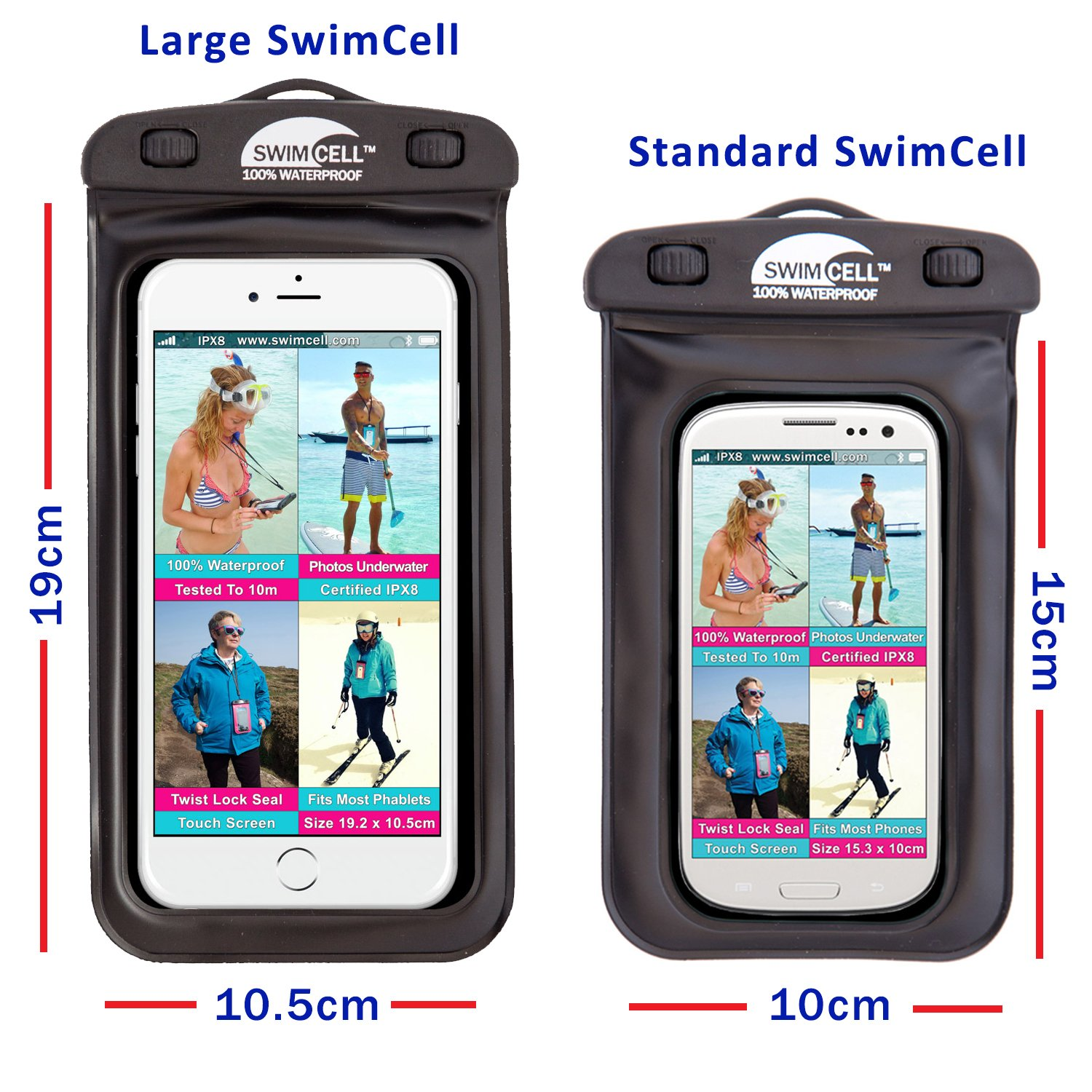 best sneakers 9b998 81a5a SwimCell #1 Waterproof Phone Case Pouch for iPhone and Android,Certified  IPX8. Tested Underwater. Patented, Easy to Use Twist Seal.