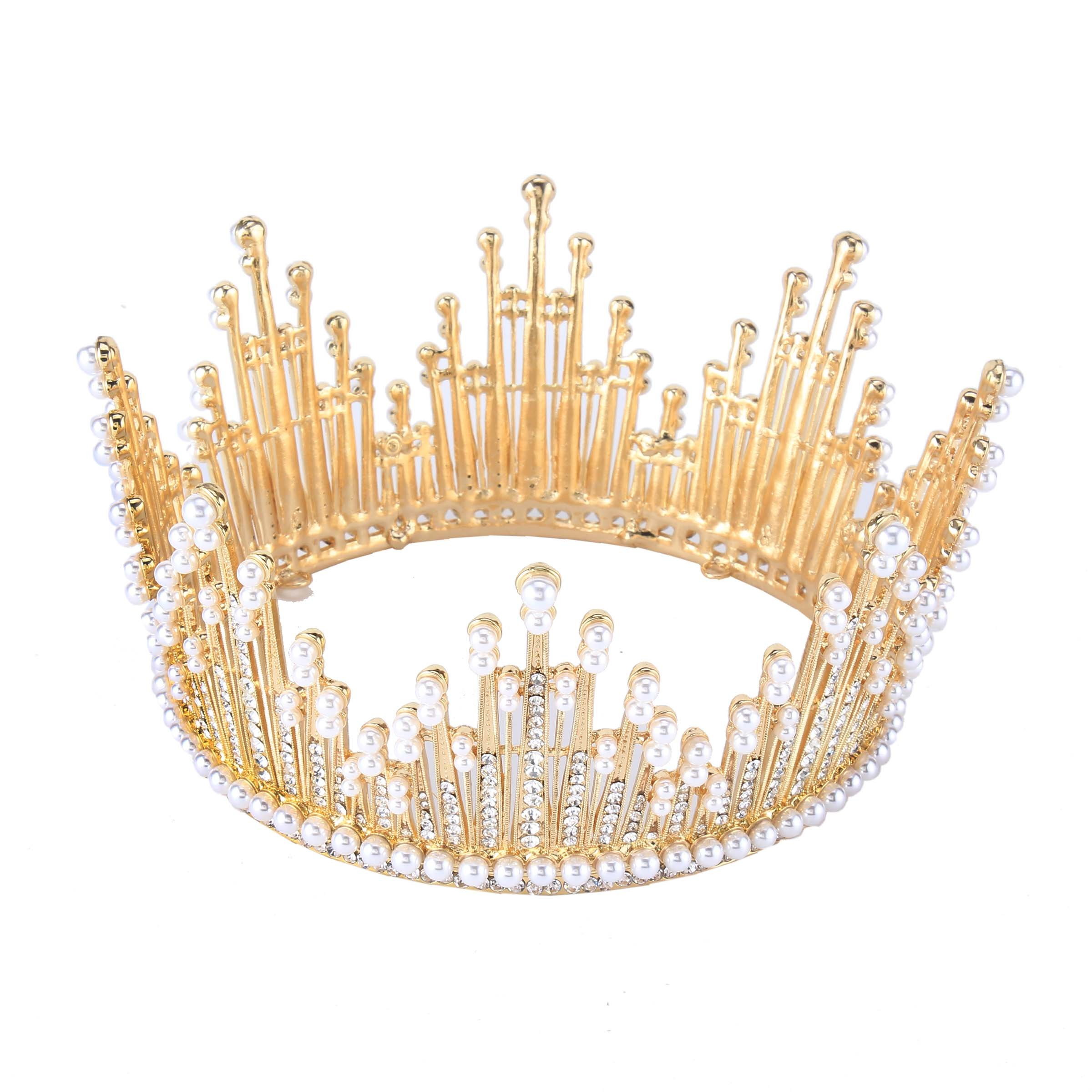 Stuffwholesale Women Wedding Tiara Pearl Bead Gold Plated Rhinestone Crown Hair Jewelry with Bobby Pins (Gold)