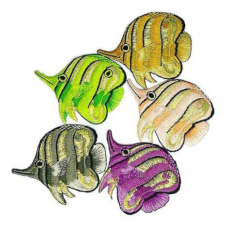 Mezcla de colores 5 de peces de mar animales dibujos animados parche coser hierro sobre bordado. Pasa ...