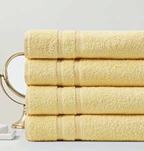 Degrees of Comfort Extra Large Turkish Bath Towels for Bathroom | Luxury Towel Set for Home Decor | 100% Cotton | Premium Hotel Quality - Yellow, 4 Bath Towels