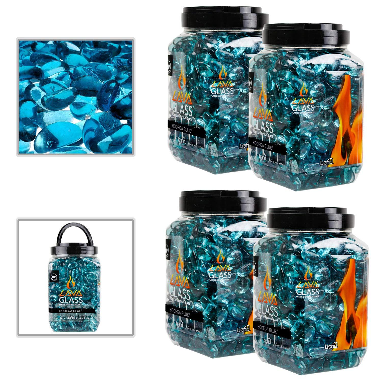 Bond 67994 Bodega Blue 4 Pack Mini Cut LavaGlass Firepit Dispersion Glass 40 lbs by Bond