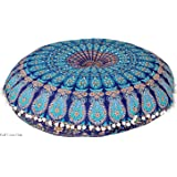 "32"" Puff Blue Mandala Floor Pillow Cushion Seating Throw Cover Hippie Decorative Boho "" This is a Cover only """