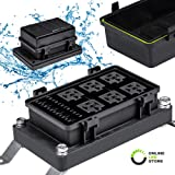 12V Auto Waterproof Fuse Relay Box Block [6 Bosch Style Relay Holder] [6 ATC/ATO Fuse Holder] Universal Relay Block Box for 1