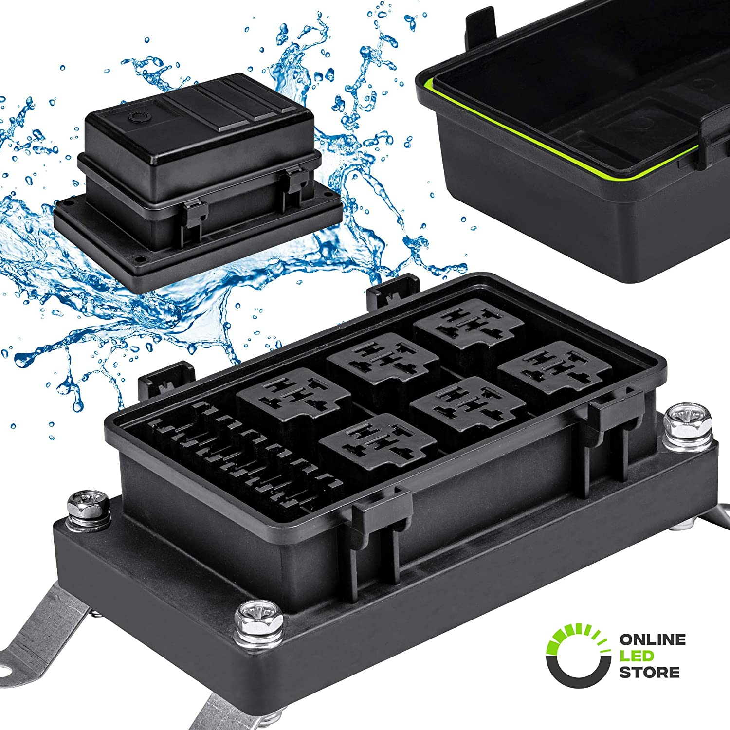 Fuse Box for Jeep Boat Car Or Truck Silicone Seals 6-Slot Blade Fuse Holder 6-Slot Bosch Style Relay Holder ONLINE LED STORE Waterproof Relay//Fuse Block for Automotive and Marine