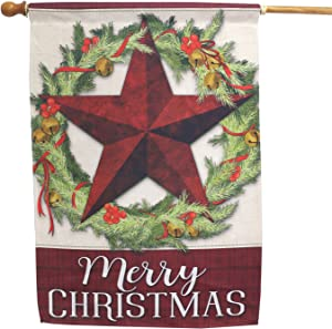 LAYOER Barn Star Welcome Primitive Garden Flag 28 x 40 Inch Double Sided Christmas Merry Christmas Five-Pointed Star