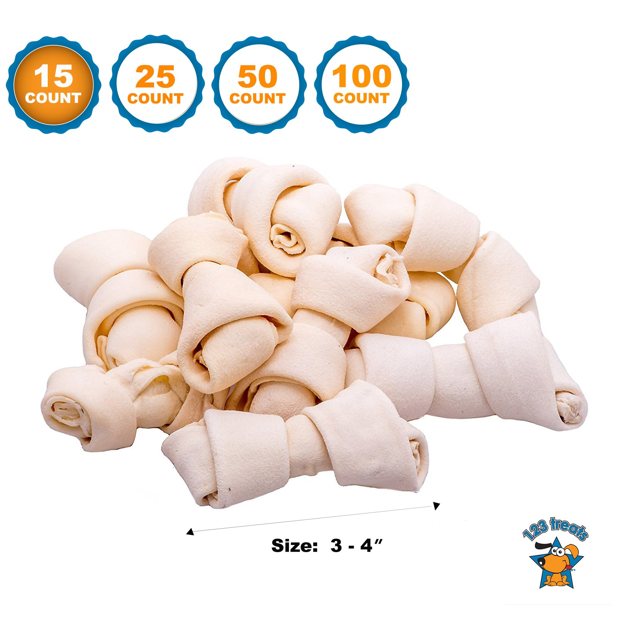 123 Treats - Rawhide Bones Chews 3-4'' (15 Count) Premium Rawhide Dog Bones   Free Range Grass Fed Cattle with No Hormones, Additives or Chemicals