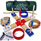 Yards of Fun Ring Toss Game Set - 20 Rope & Plastic Rings, Scorecard, Rope Start Line, Rules & Sturdy Carry Bag- Easy…