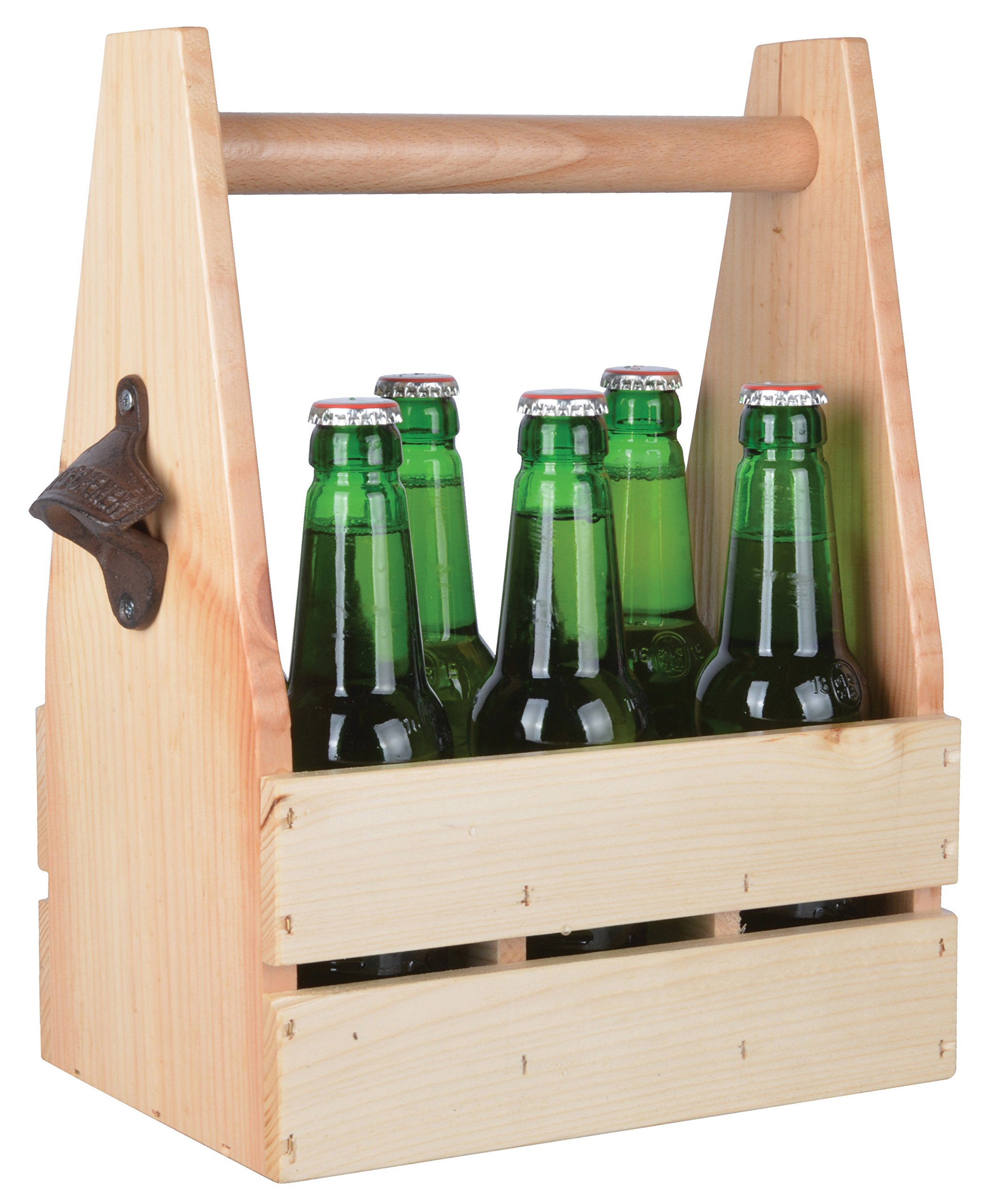 Esschert Design C2060 Pine Wood Bottle Crate with Opener, Brown
