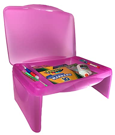 Kids Folding Lap Desk Pink U2013 Foldable Lap Tray With Storage U2013 Portable  Activity Table With