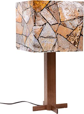 Redipix Photo Shade Decorative Table Lamp with Solid Walnut Wood Base (Your Custom Images)
