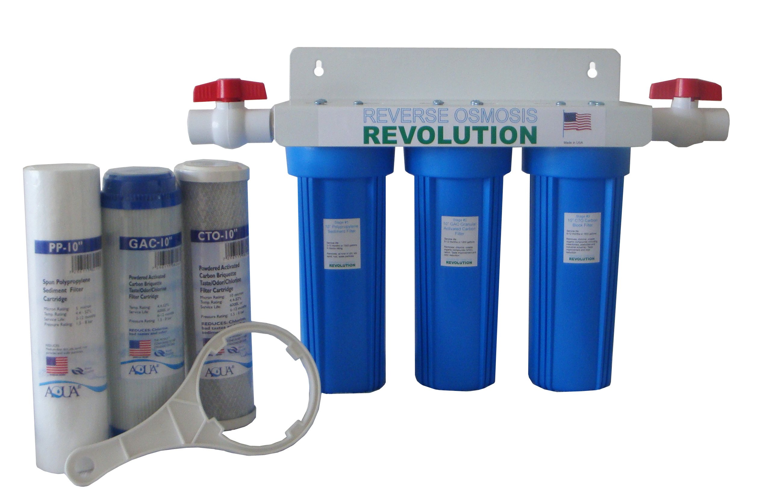 Reverse Osmosis Revolution Whole House 3-Stage Water Filtration System, 3/4'' port with 2 valves and extra 3 filters set