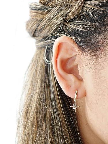 Celestial Charm Huggie Earrings Minimalist Jewellery Star Charm Huggie Earrings 925S Mini Charm Hoop Earrings