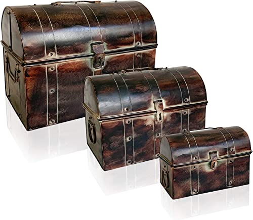 Nested Metal Trunks Set of 3 – Vintage Style Storage with Iron Finish Rivets and Strips