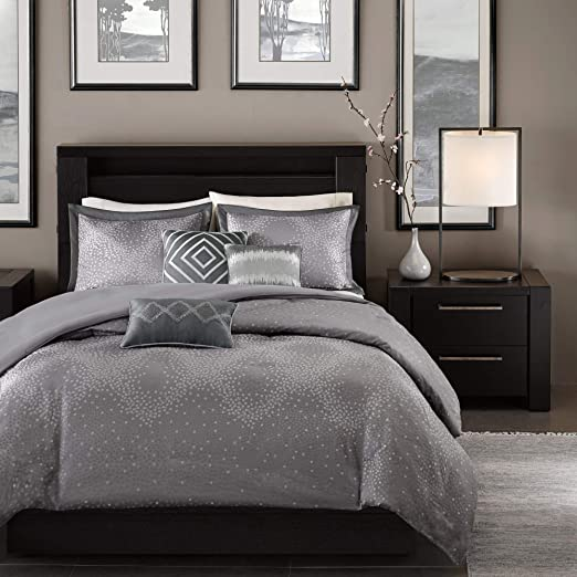 Amazon Com Madison Park Quinn 6 Piece Duvet Cover Set Grey Cal King King King 104 X92 Home Kitchen