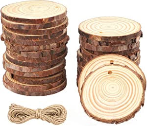 CEWOR Natural Wood Slices 68pcs 2-2.4 Inches Crafts Christmas Ornaments Craft Wood kit Unfinished Predrilled Wooden Circles for Christmas DIY Arts Rustic Wedding Decoration